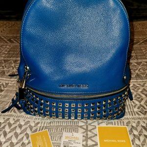 NWT Michael Kors Studded Rhea Backpack in Tile Blue